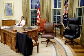 Obama In the Oval Office, Getting Ready For His First Speech From This Room in the White House. Image Credit: Flickr
