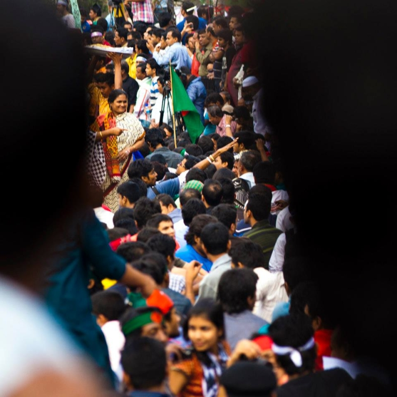 A View From the Crowd. Protests in Dhaka Swelled Into Their Fourth Day. Image Credit: Arif Hafiz