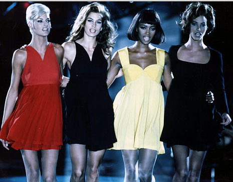 During a Versace Show in the 1990s, the Height of SuperModel-dom. Image Credit: Flick
