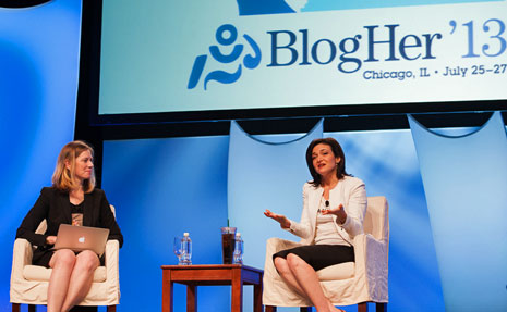 Sheryl Sandberg Talks To Lisa Stone At BlogHer13 in Chicago Last Week. Image Credit: BlogHer