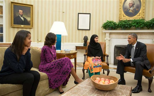 Malala meets the Obamas at the White House in Washington, DC on a recent US tour to promote her book. Image Credit: Flickr.