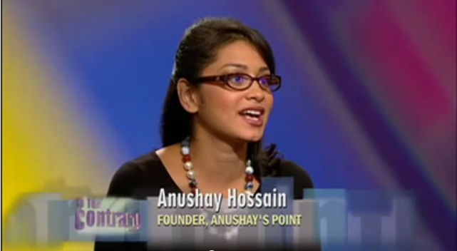 Making my US TV debut on PBS' To The Contrary, the famous American show providing analysis on women's issues by women.