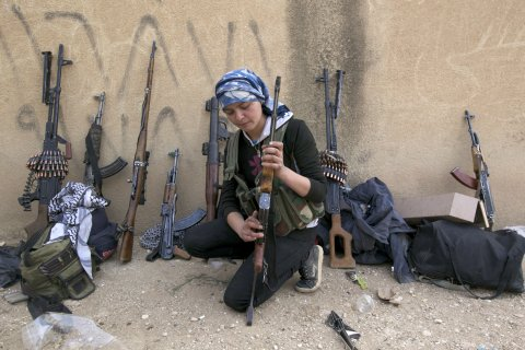 Kurdish female guerrilla fighters are on the front-lines. Image Credit: Flickr.
