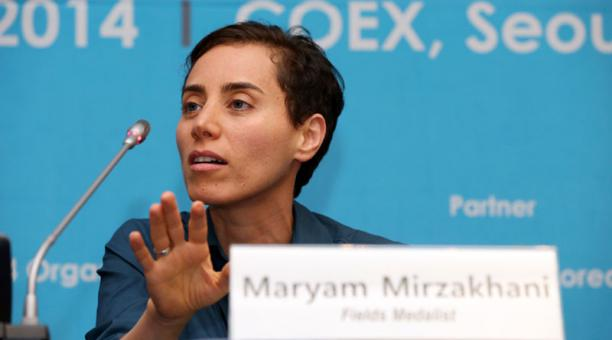 Mirzakhani speaks in Korea after accepting the Fields honor. Image Credit: Flickr.