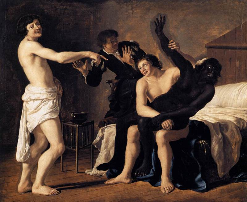 Christiaen_van_Couwenbergh_-_Three_Young_White_Men_and_a_Black_Woman_-_WGA5568